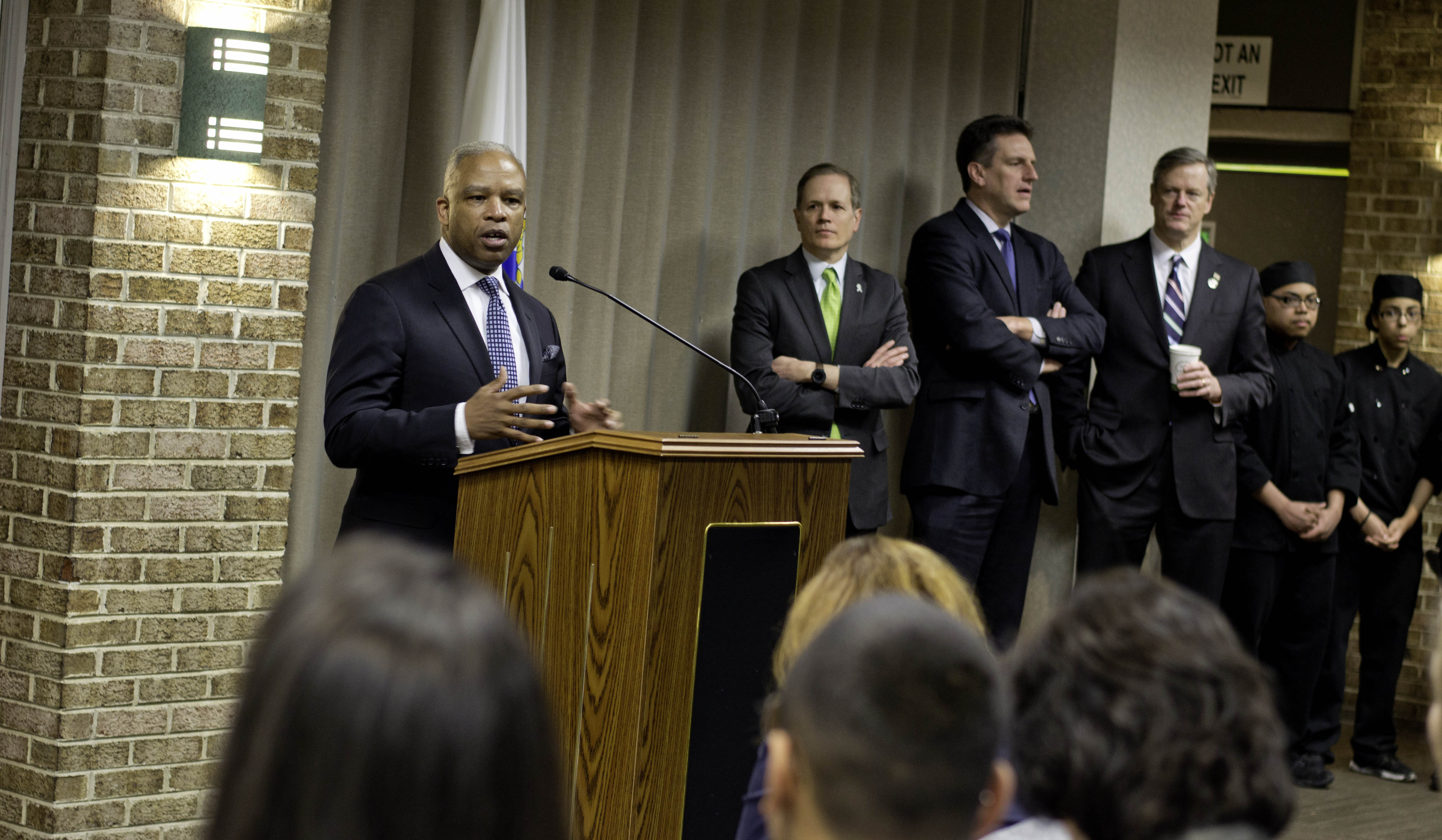 Labor and Workforce Development Secretary Ron Walker with Governor Baker and the other members of the Workforce Skills Cabinet in Lowell.