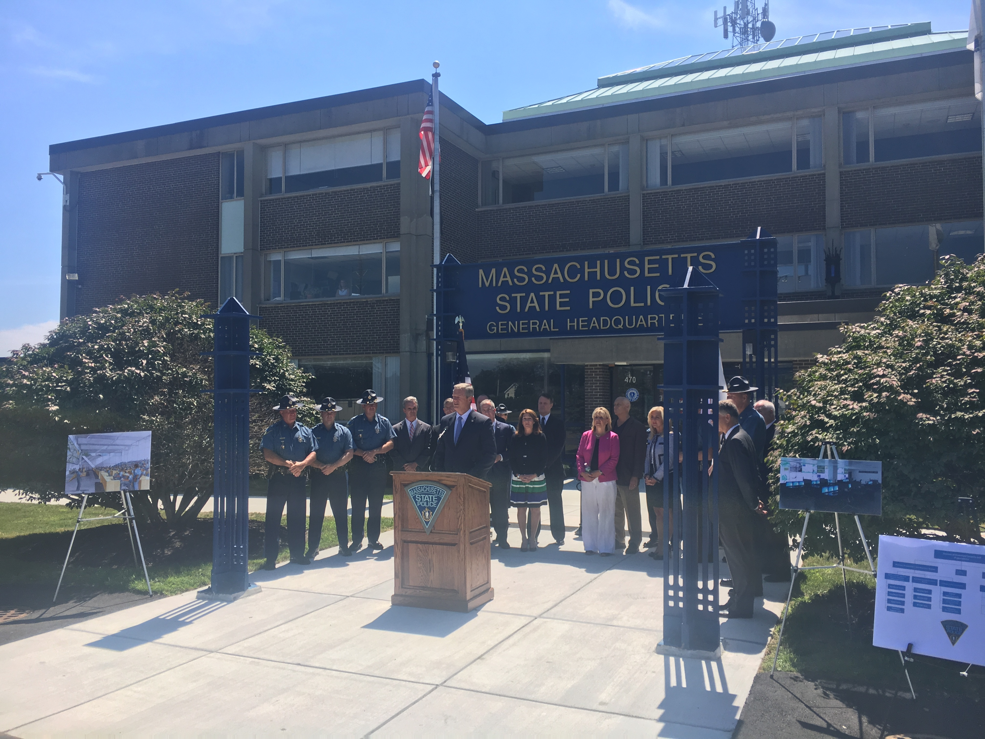 Governor Baker at Massachusetts State Police Headquarters in Framingham.