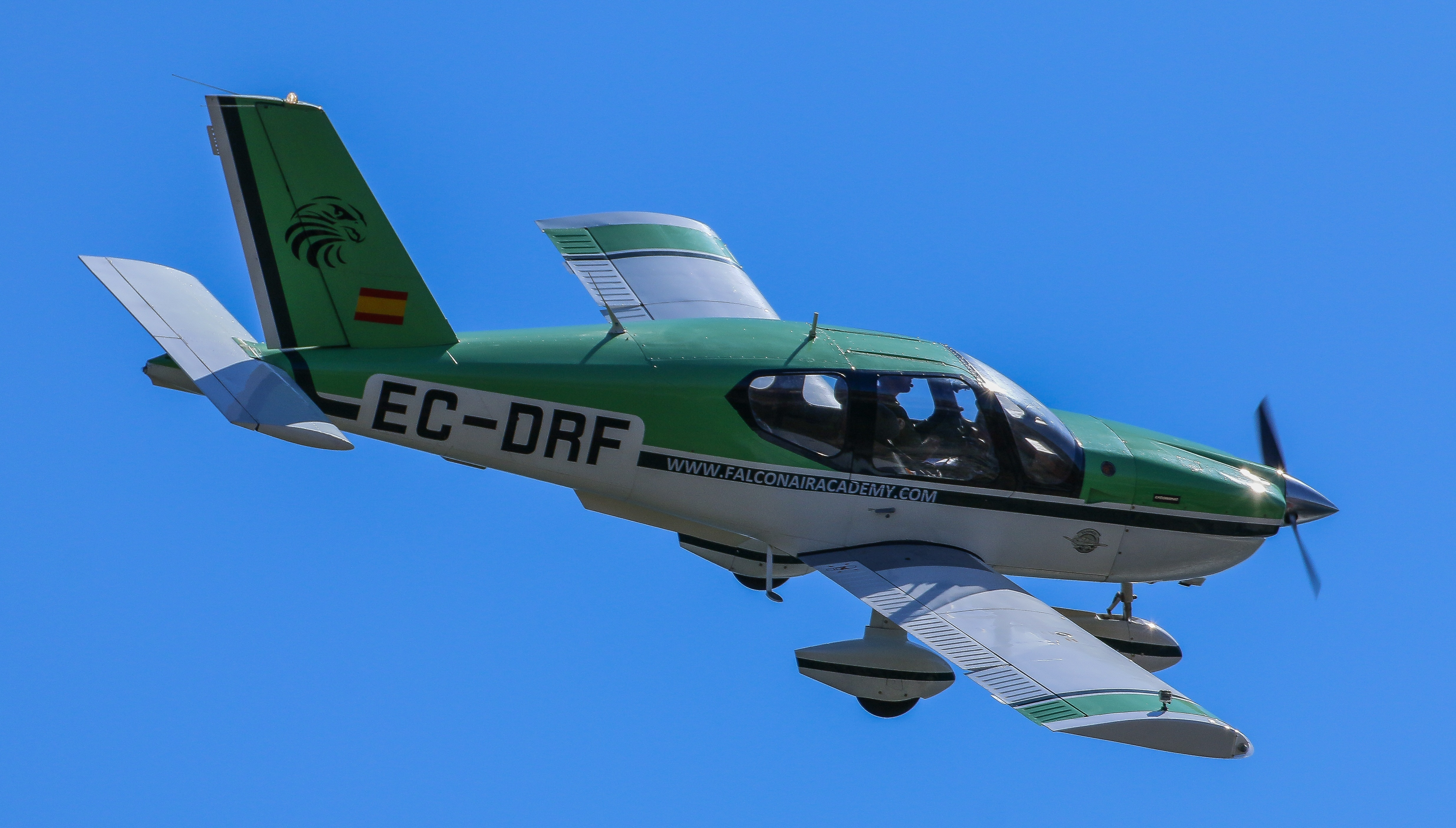 Small green airplane.