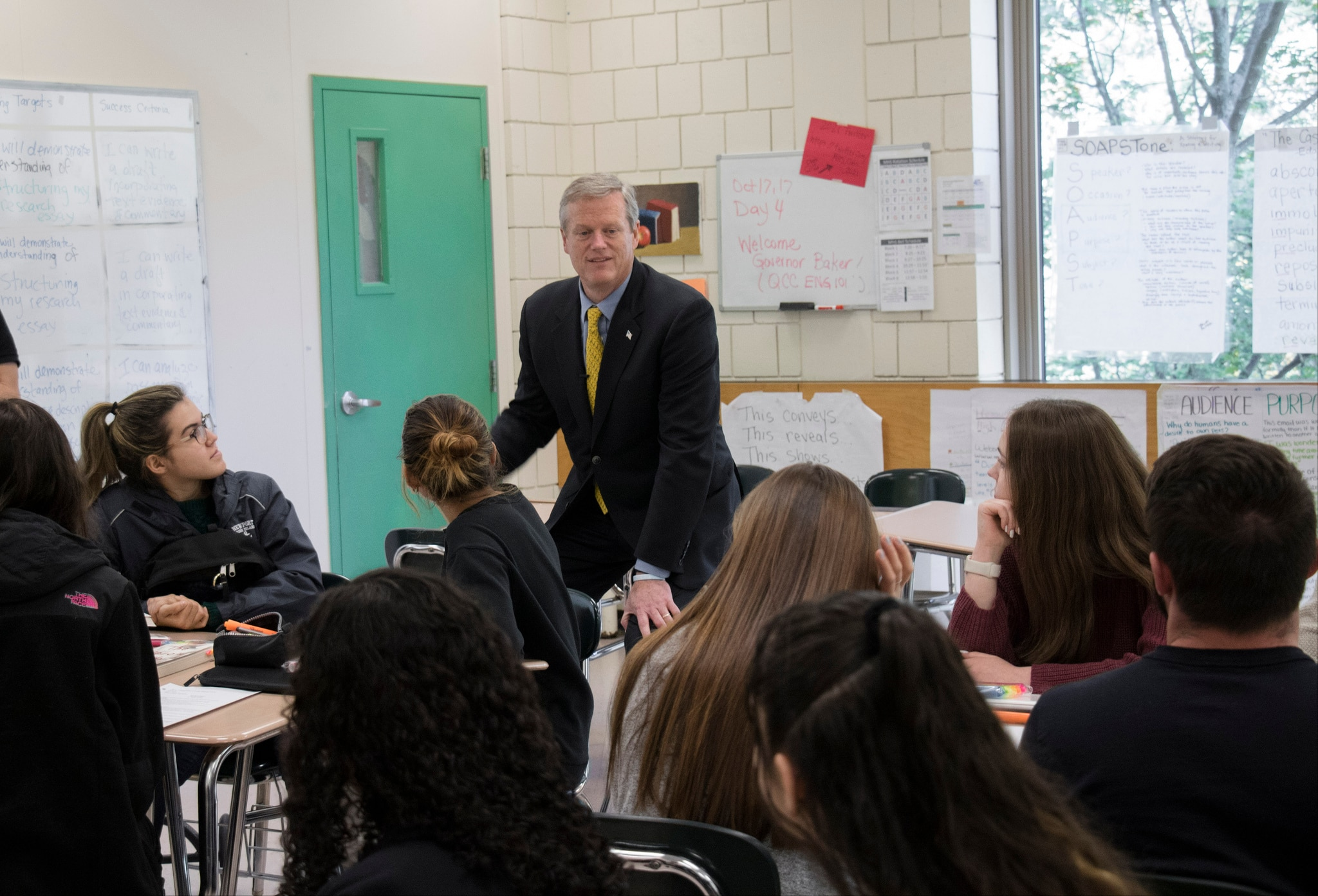 Governor Baker speaks to students at Marlborough High School.