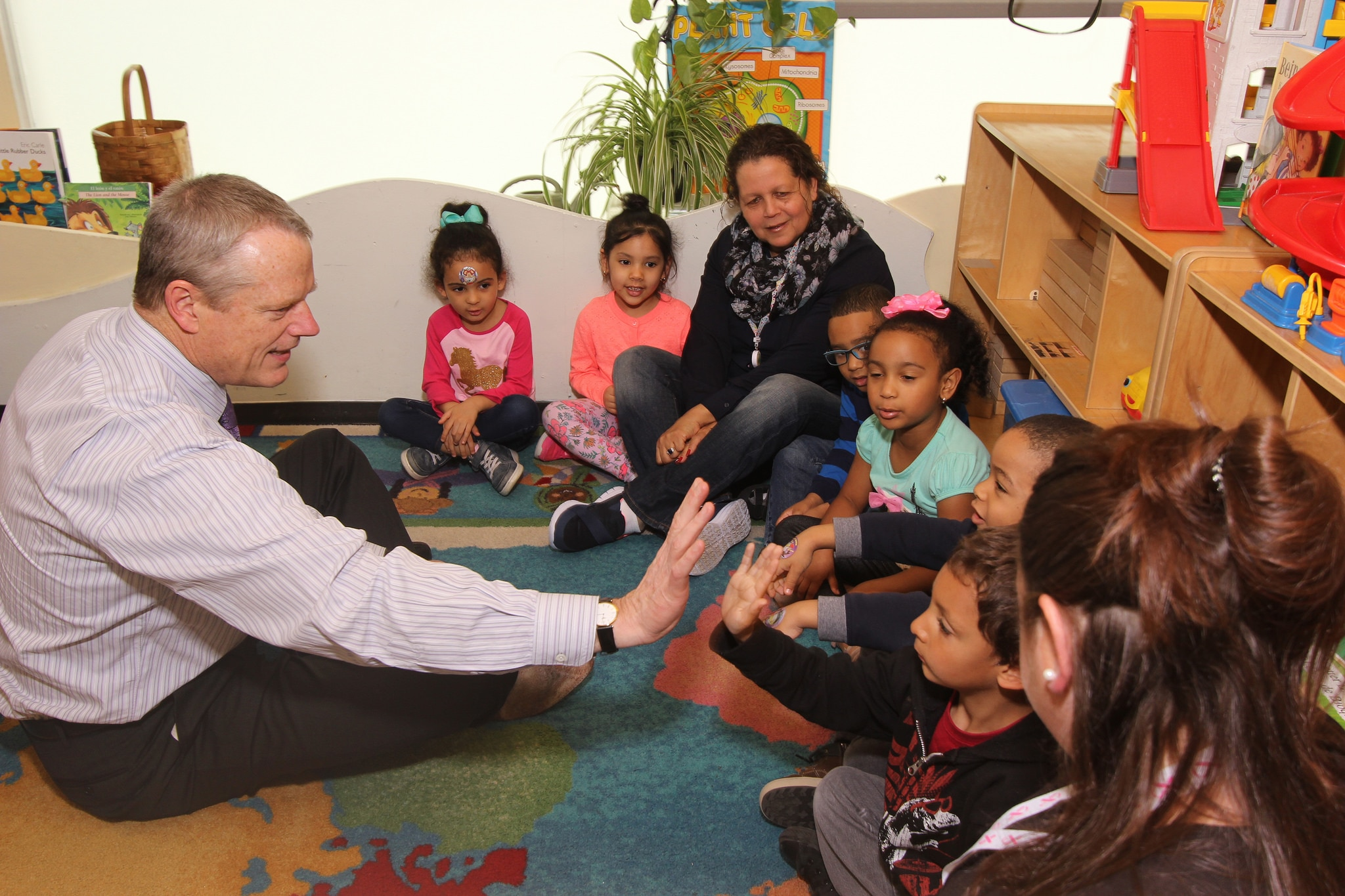 Governor Baker with Head Start students in Lawrence.