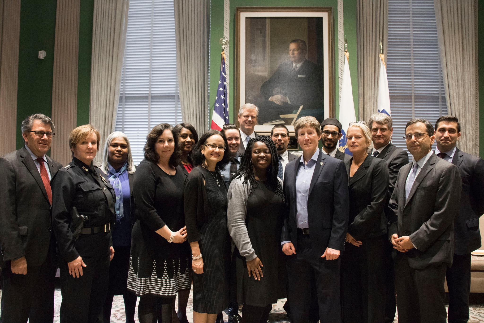 Governor Baker with members of the Governor's Task Force on Hate Crimes.