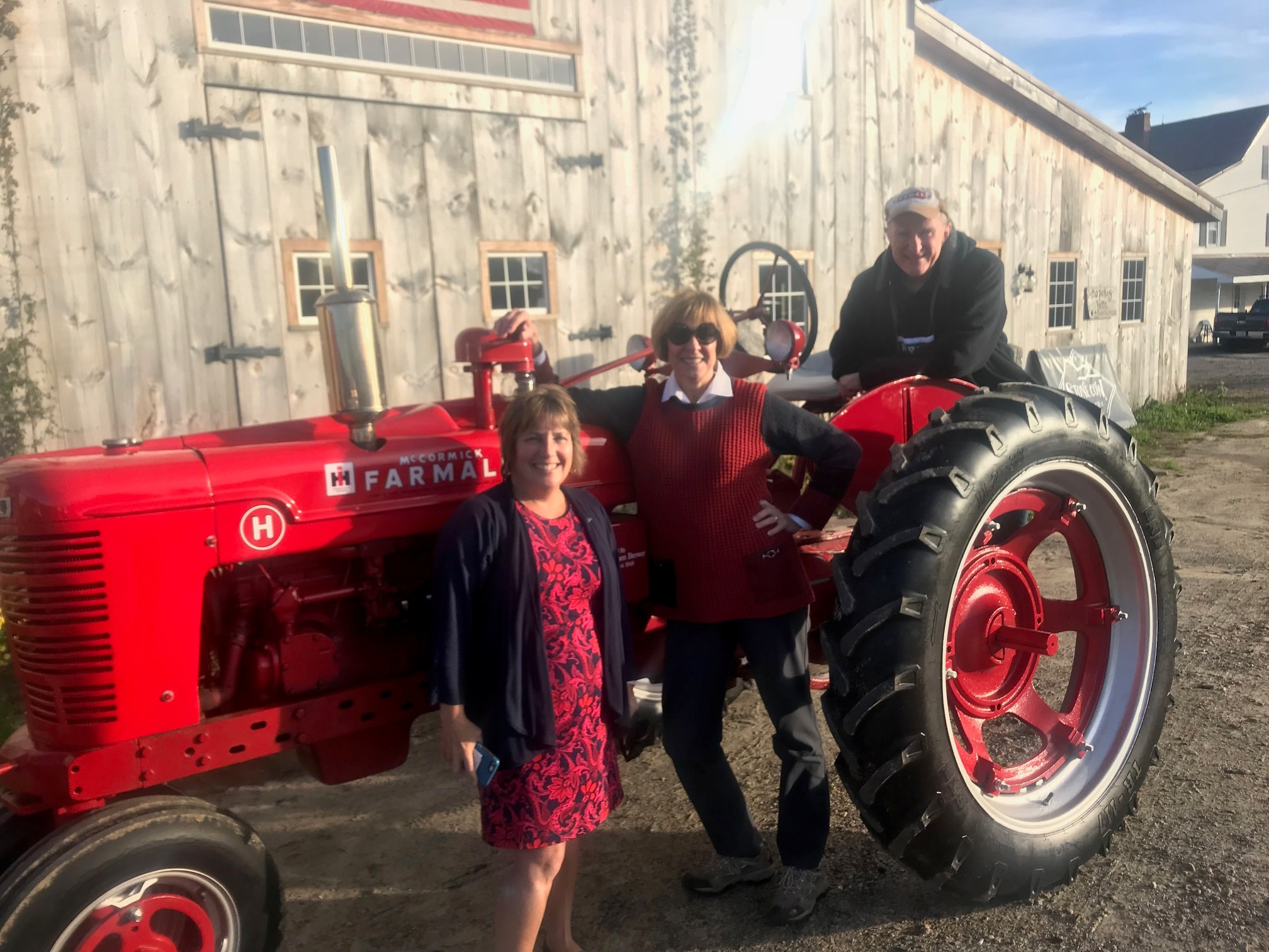 State Auditor Suzanne M. Bump (center), Former Sen. Stephen Brewer (right), and Sen. Anne Gobi (left) visited Carter & Stevens Farm in Barre to discuss issues impacting Massachusetts farmers.