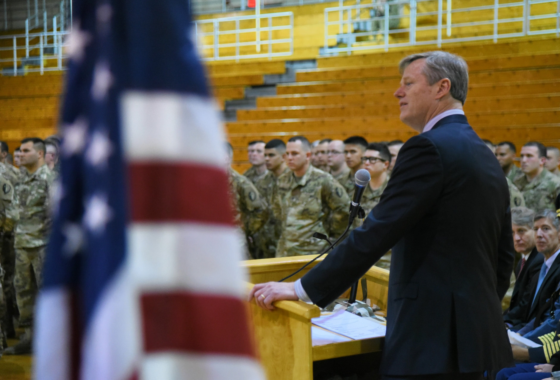 Governor Baker addresses the 181st Infantry Sendoff at UMass Amherst.