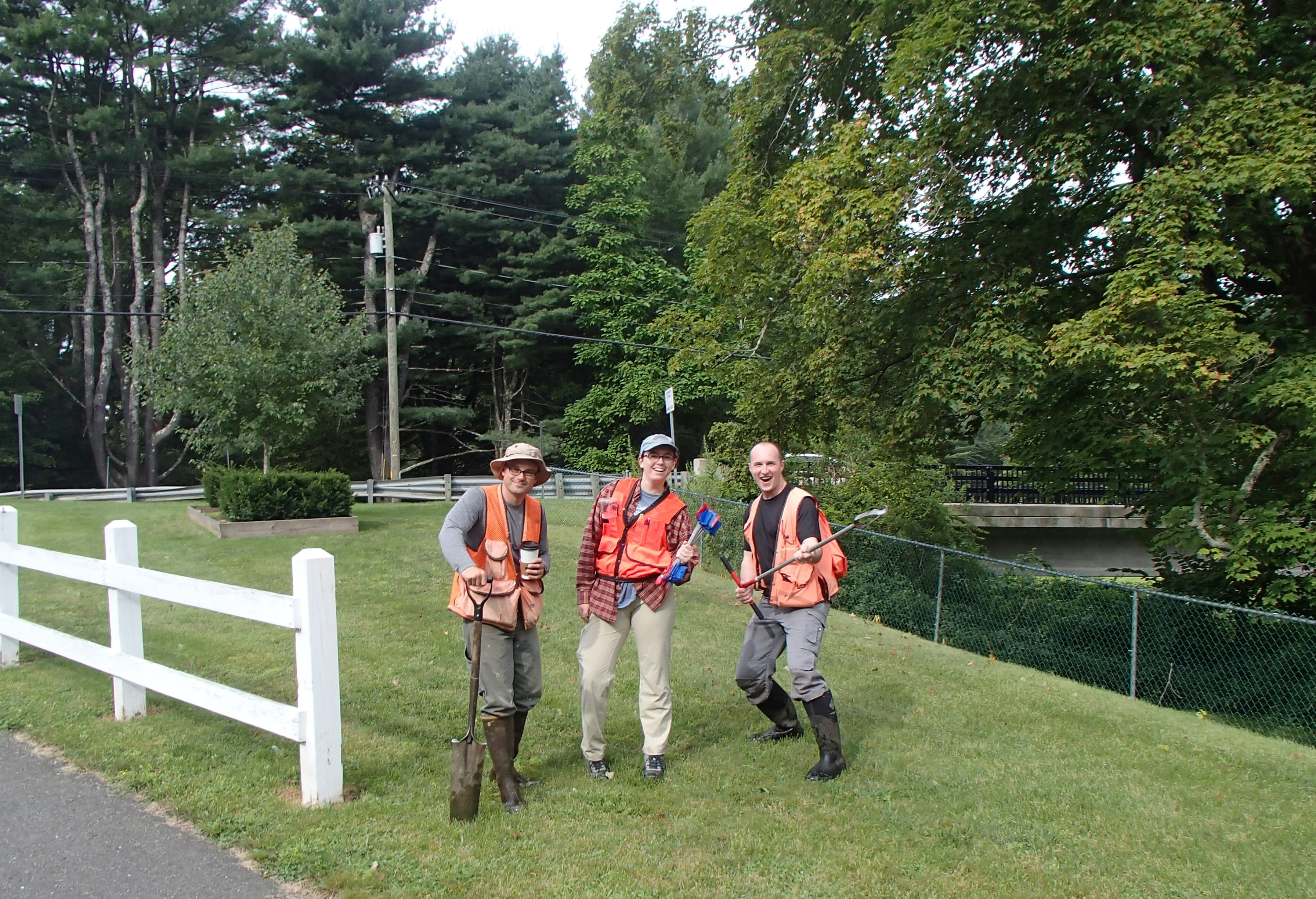Intern Jessica Holleran in the field with DER's Nick Wildman and Eric Ford