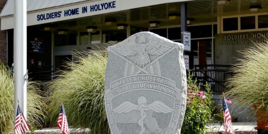 Stone monument in front of the Soldiers' Home in Holyoke.