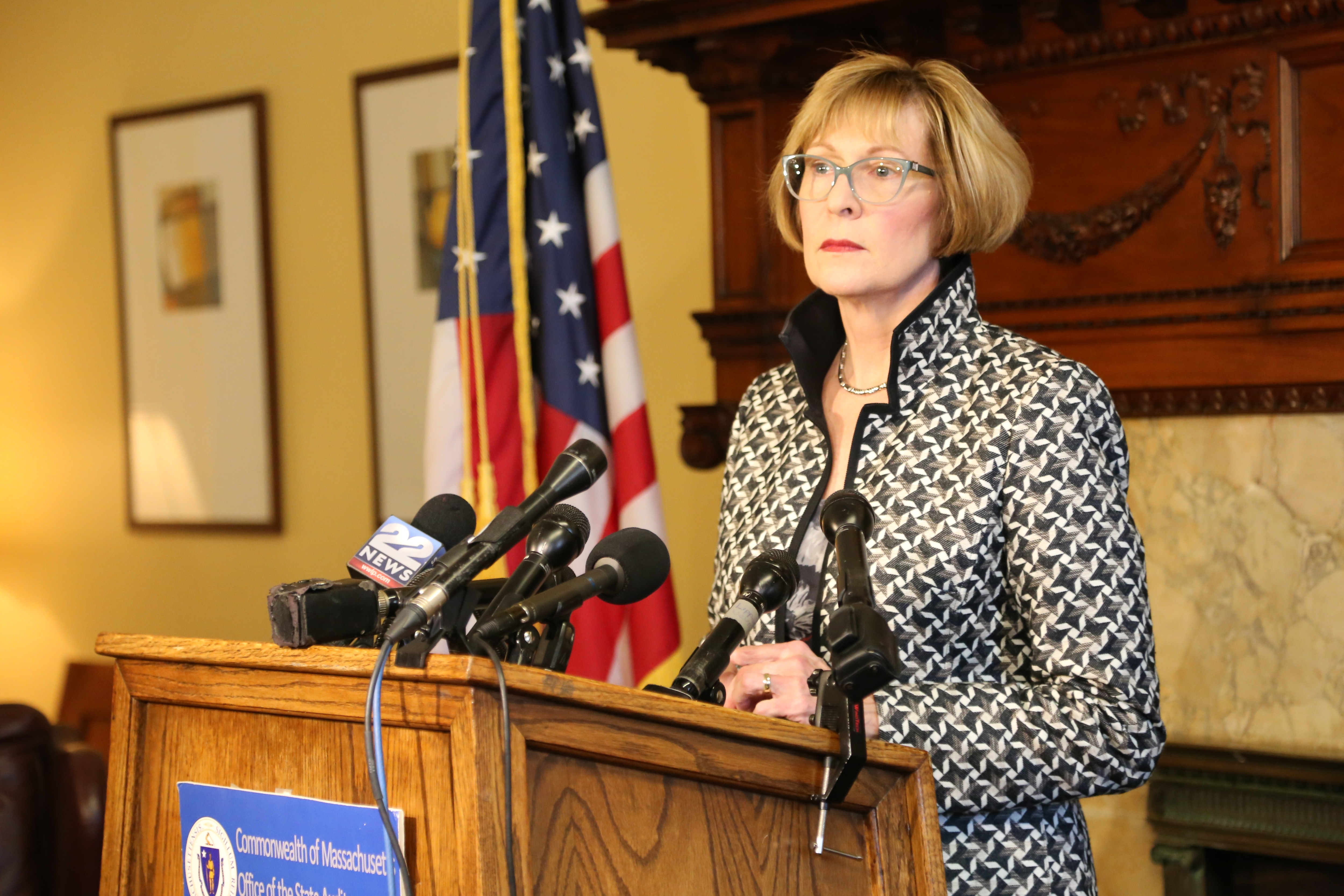 Photo of Auditor Bump speaking on the recently released audit of the Department of Children and Families.