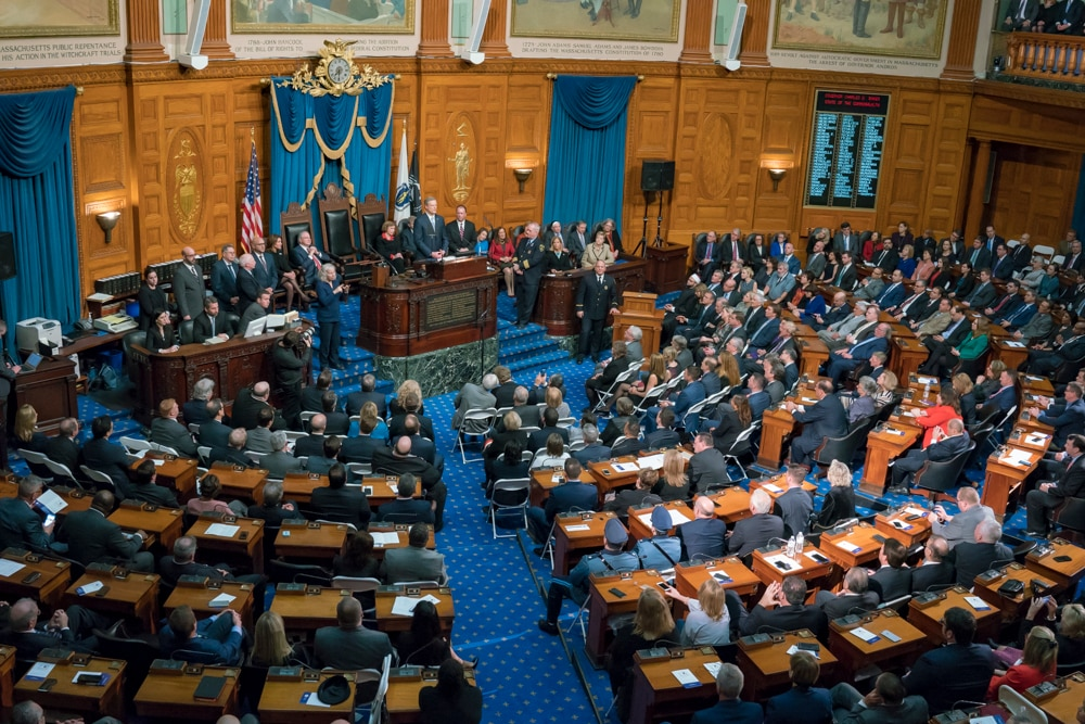 Governor Baker delivering his State of the Commonwealth address.