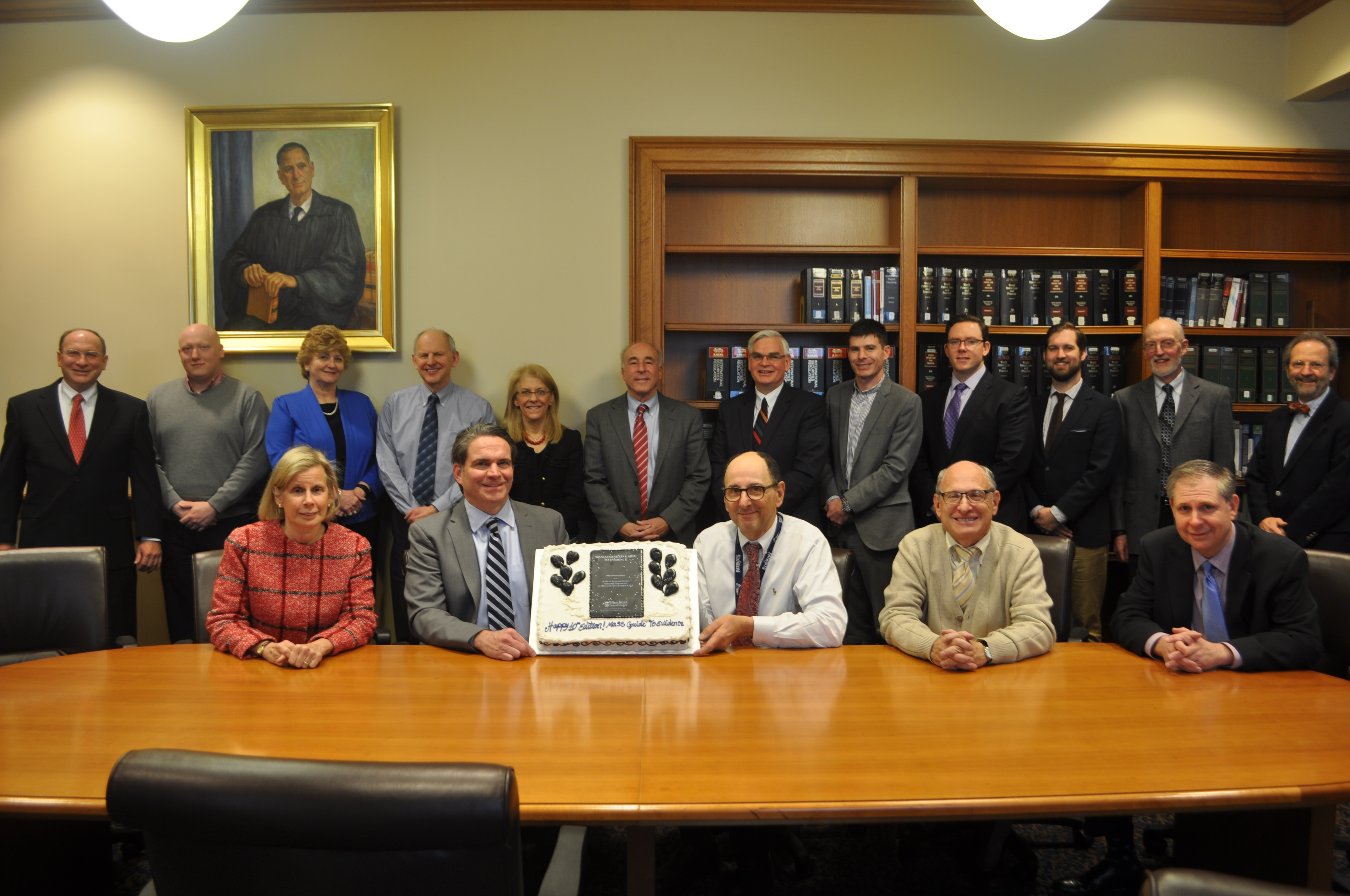 Members of the committee celebrated the publication of the tenth edition of the Massachusetts Guide to Evidenc.