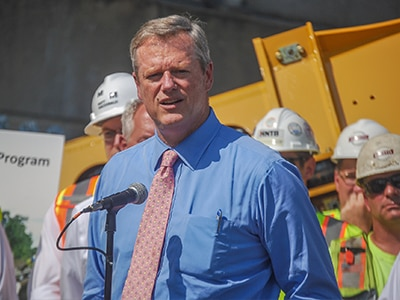 Governor Baker with construction workers.