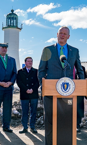 Governor Baker announces bond bill in Scituate.