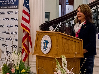 Lt. Governor Polito address Victim Rights Day at the Statehouse.