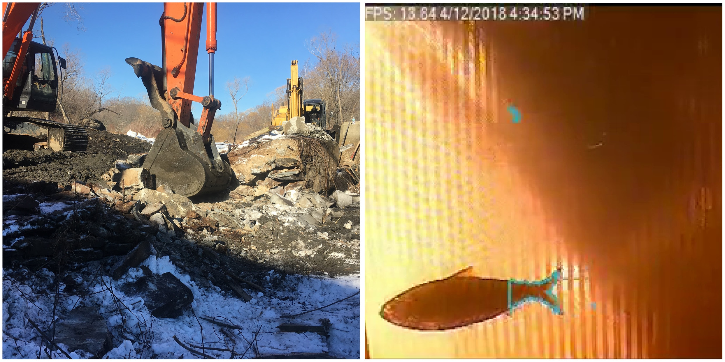 Two images one an excavator removing a dam, the other a river herring as captured by an underwater camera.