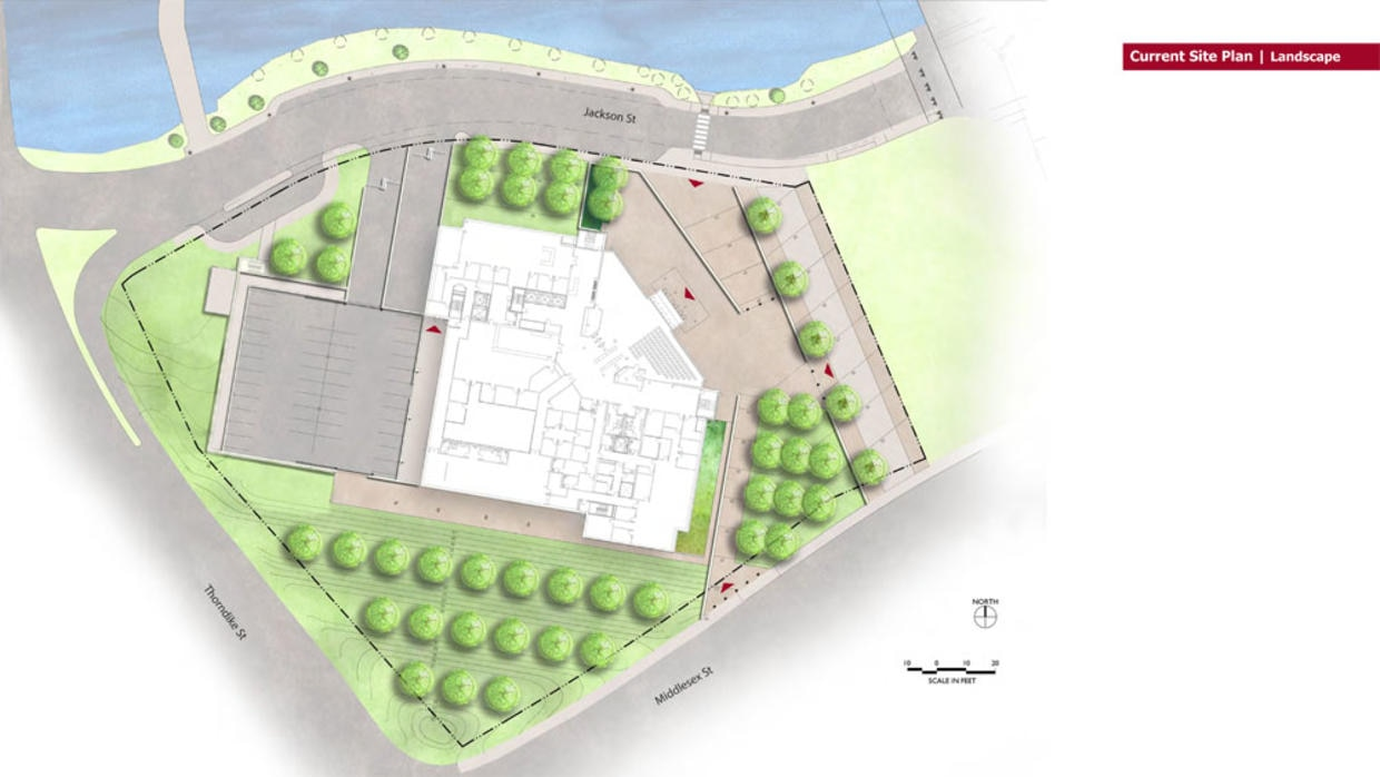 Current Lowell Judicial Center site plan and landscape