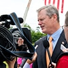 Governor Baker speaks with reporters