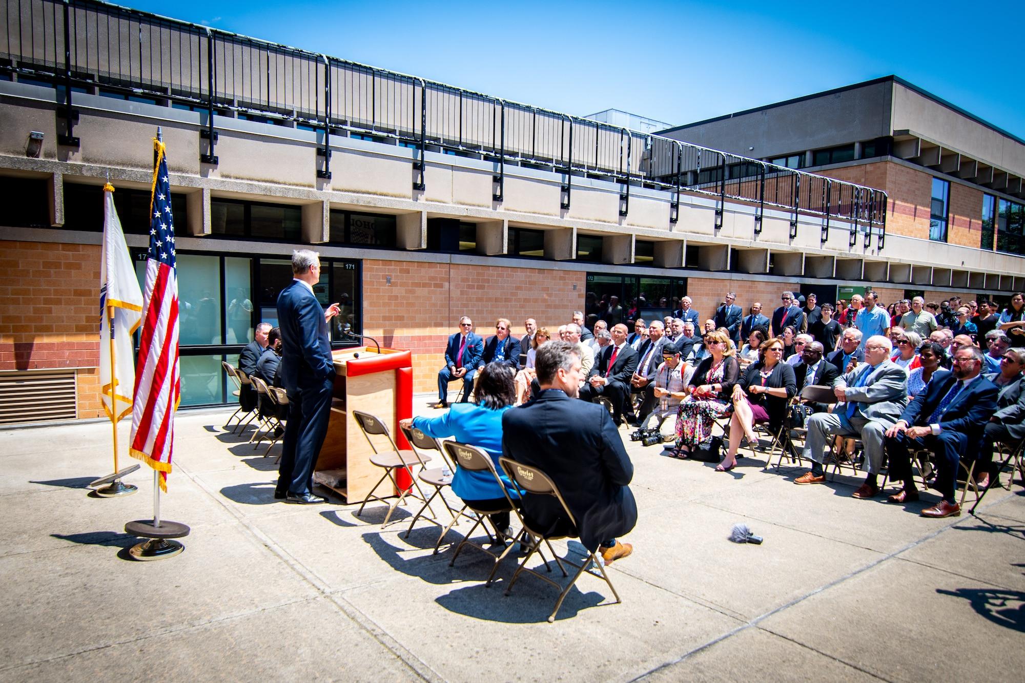 Governor Baker an Salem High School announcing Skills Capital Grants.