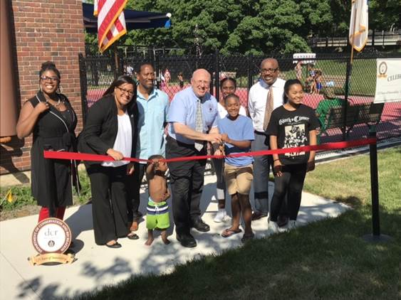 Massachusetts Department of Conservation and Recreation Commissioner Leo Roy joined with state and local officials to celebrate the opening of the new spray deck at the Melnea A. Cass Recreational Complex