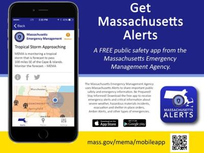 Get Massachusetts Alerts - free smartphone app from MEMA for iOS and Android devices