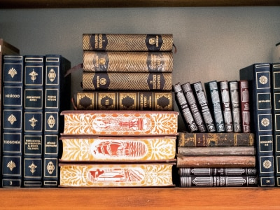 Image of some books on a shelf.