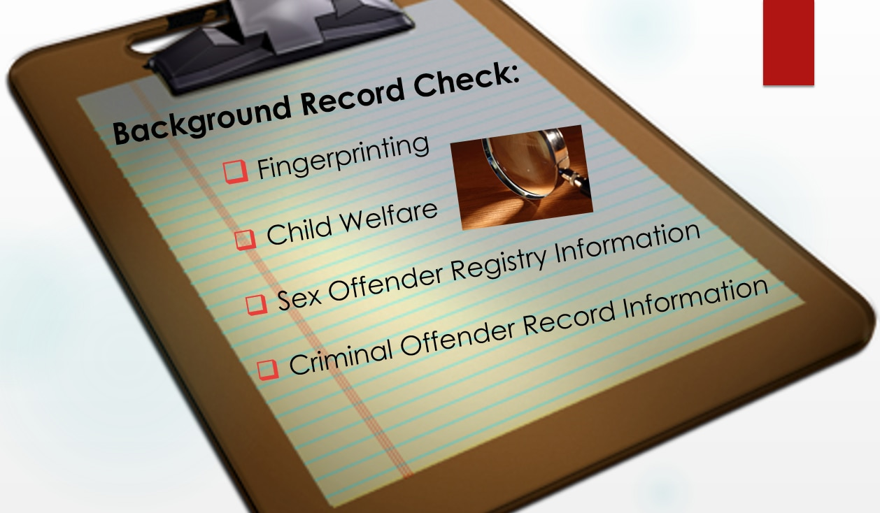 Image of a checklist with the Department of Early Education and Care's background record check requirements.