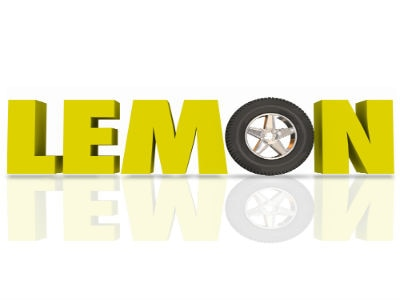 "the word Lemon with a tire as the letter ""O"""