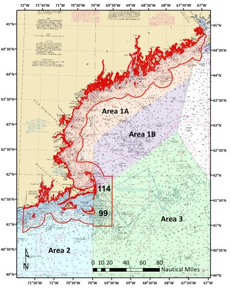 Herring Management Areas 1A, 1B, 2, and 3 with the 12-nautical mile buffer zone adopted by the NEFMC (outlined in red). The buffer zone runs from the Canadian border to Montauk and includes blocks 99 and 114 eastward of Cape Cod. Image courtesy of NEFMC.