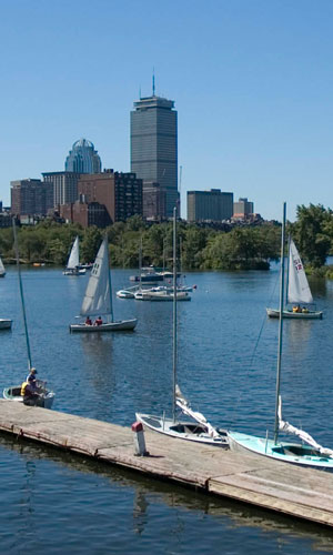 charles river and boston skyline