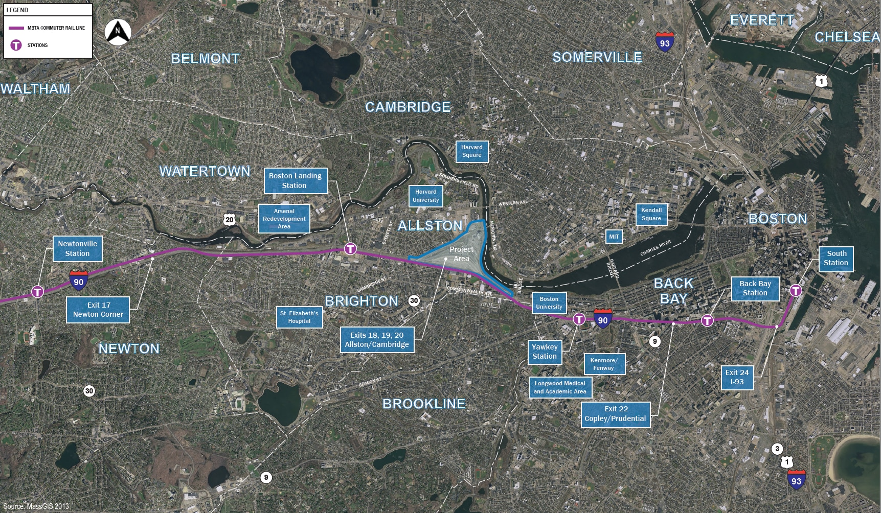 A map of the Boston area with the project area highlighted, and the Worcester/Framingham Commuter Rail Line labeled.