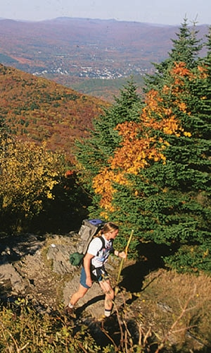 mount greylock hiker in the fall