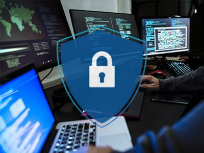 cyber security images with a lock and computers
