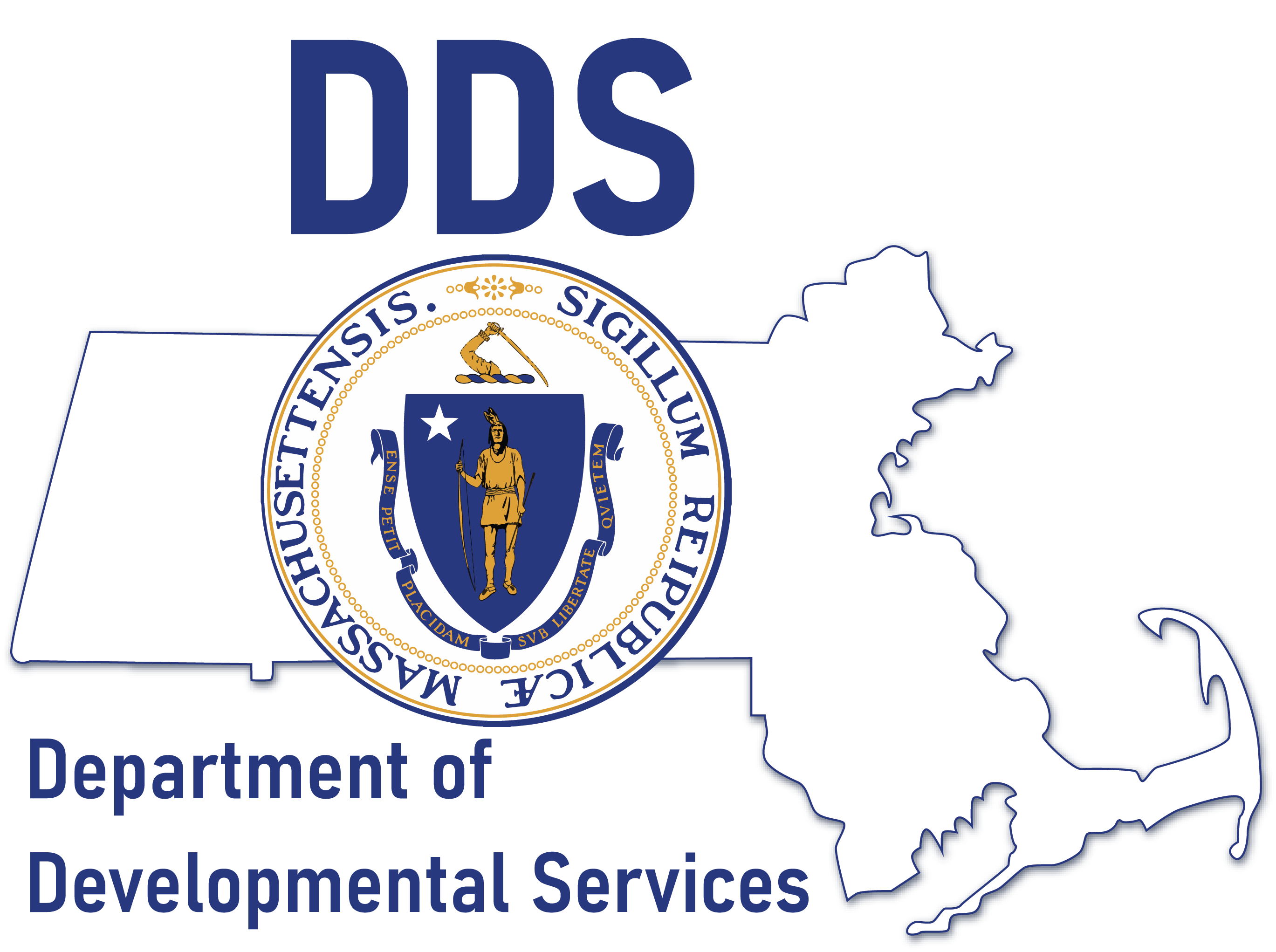Logo of the Department of Developmental services. The state seal of Massachusetts over the shape of the state of Massachusetts. The initials DDS and text Department of Developmental services is shown above and below.