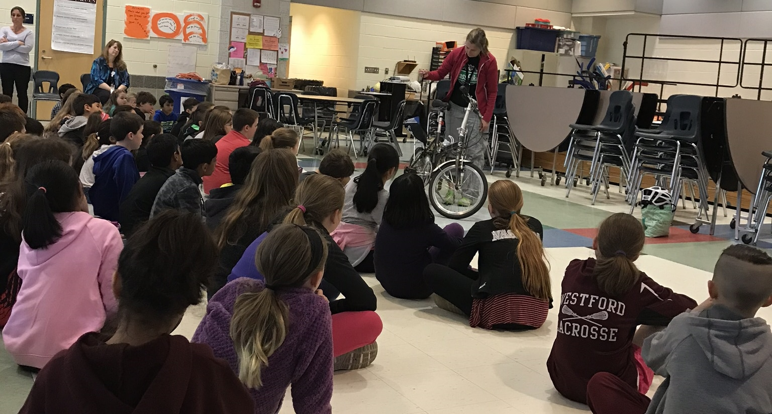 Children learning about bicycle safety
