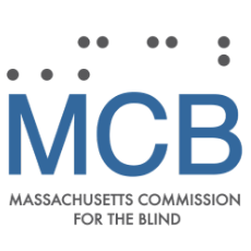 MCB Logo with Braille over M C B and Massachusetts Commission for the Blind spelled out underneath