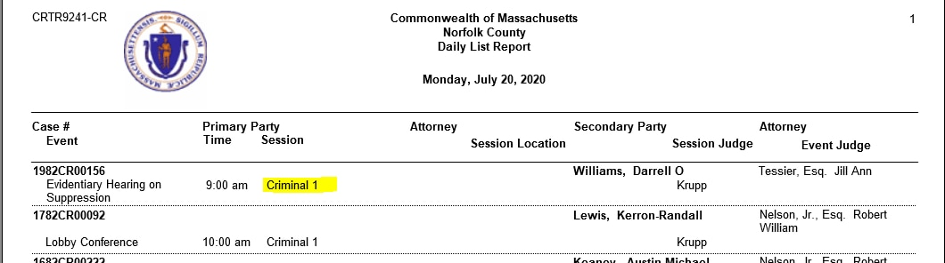 A screenshot of the Norfolk County Superior Court's Daily List Report