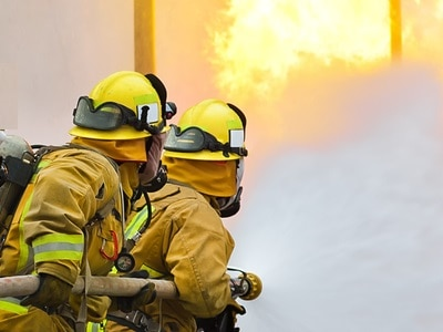 firefighters in fire fighting