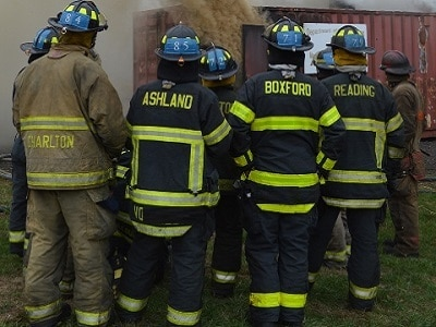 Firefighters from Charlton, Ashland, boxford and Reading in training