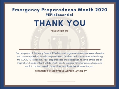Emergency Preparedness Month Essential Worker Thank You Certificate