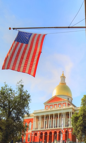 MA State House with American Flag