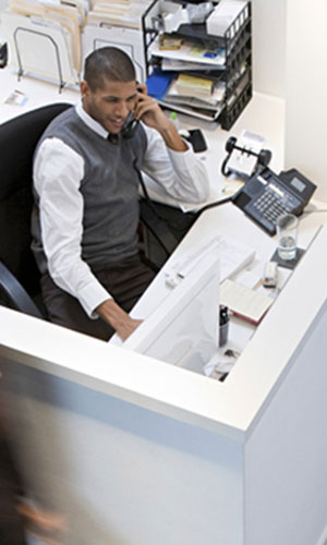 Man working in a cubicle