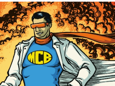 Pre-ETS Best Practice Guide Graphic Novel Superhero MCB standing in cape with glasses