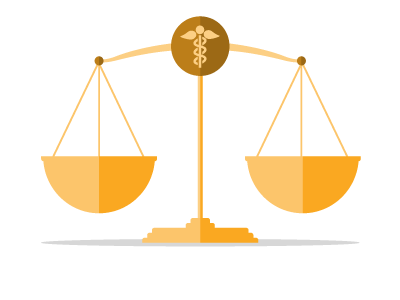 vector graphic of balanced gold scales with a caduceus medical symbol in the center of the scales