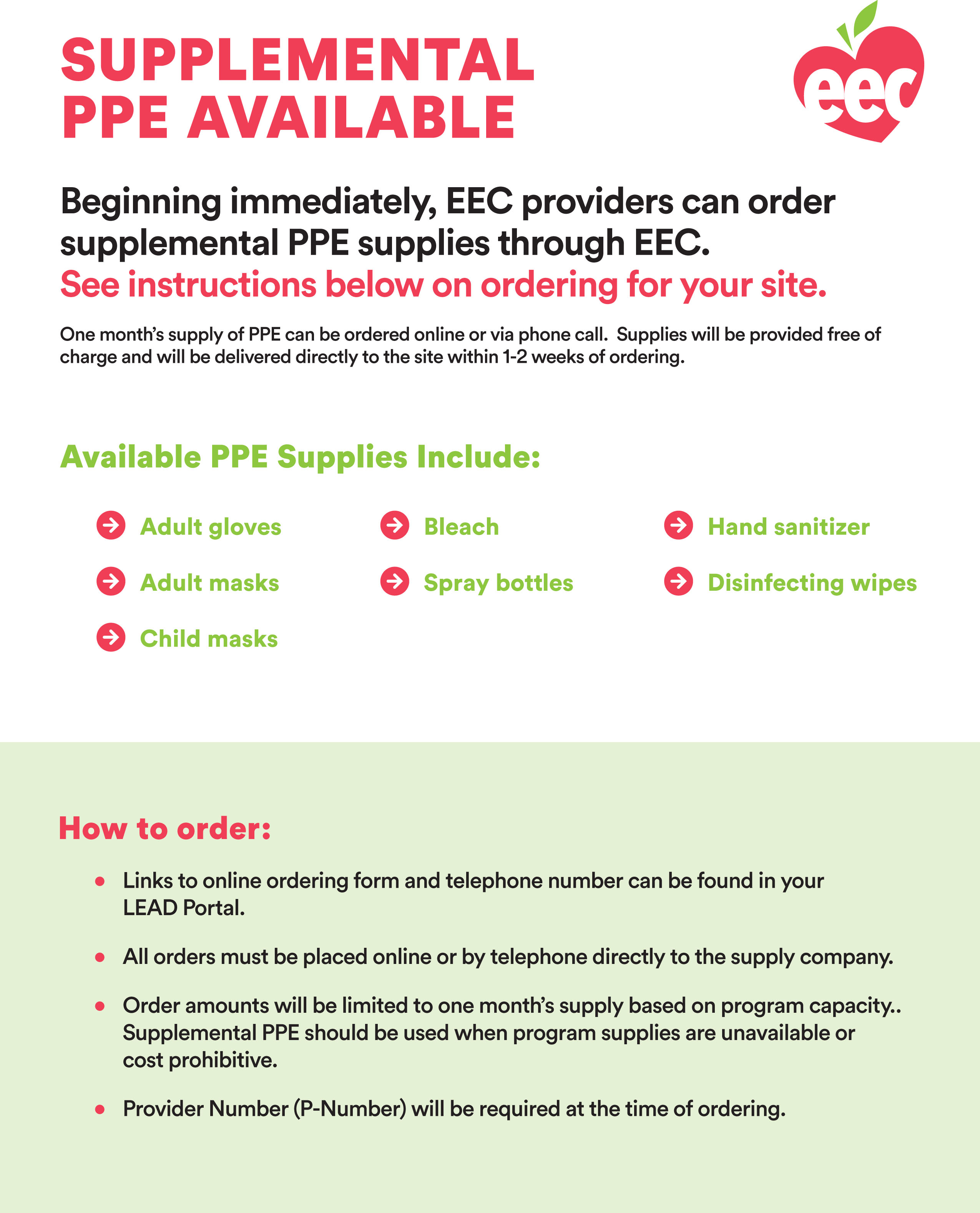 Flyer for EEC Supplemental PPE for Child Care