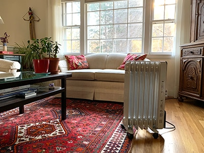 Space heater in a living room.