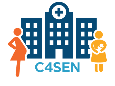 icons of a pregnant woman in orange and a yellow icon of a woman holding an infant, in front of a navy icon of a hospital. Underneath: C4SEN in blue text