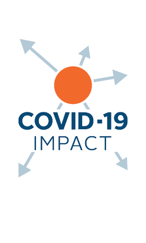 COVID-19 Impact in navy blue letters. Above that is an orange circle, with light blue arrows coming off in all directions.