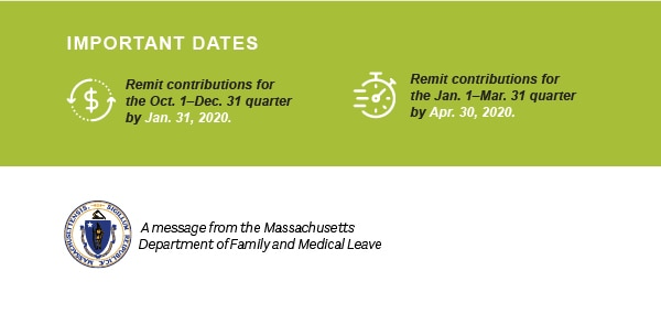Important Dates. Remit contributionsfor the October 1st through December 31st quarter by January 31, 2020. Remit Contributions for the Jan 1 through March 31 quarter by April 30, 2020.