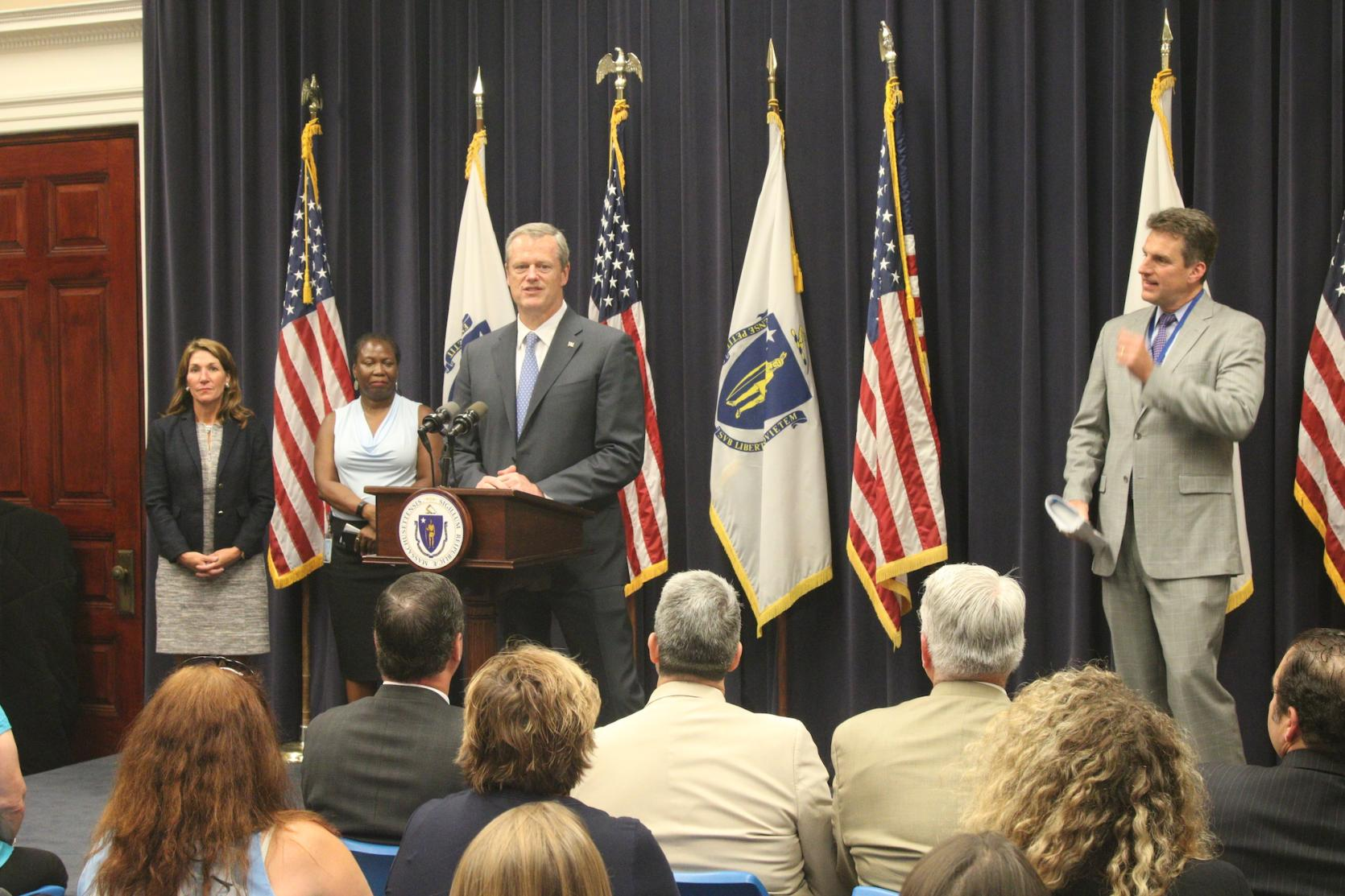 Governor Baker announces Community Development Block Grants during Statehouse event in Boston.