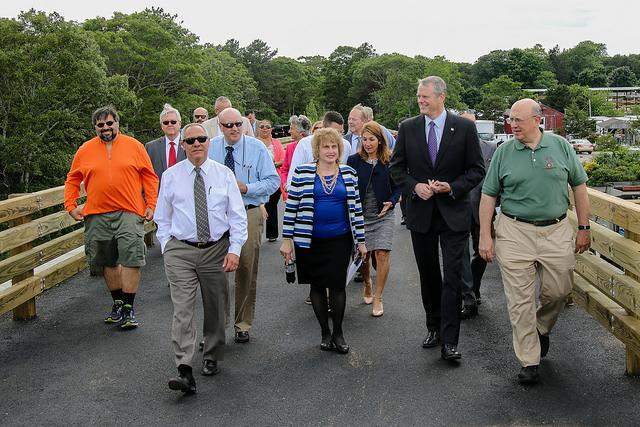Governor Baker joins other officials to announce additional state trail funding.