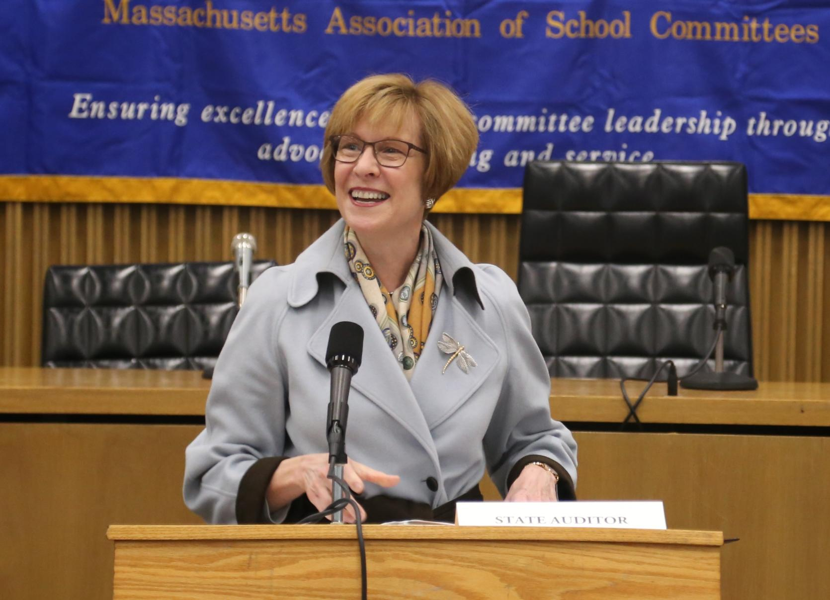 Auditor Suzanne M. Bump addresses members of the Massachusetts Association of School Committees (MASC).