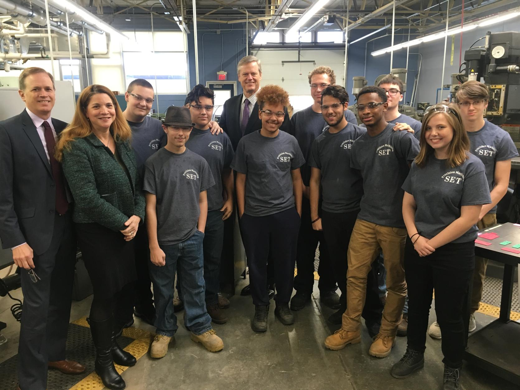 Governor Baker, Secretary Peyser, and Secretary Acosta with Southeastern Regional Vocational Technical High School students.